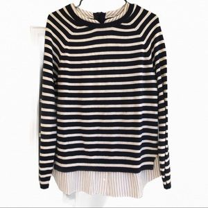 Joie navy striped layered shirt and sweater